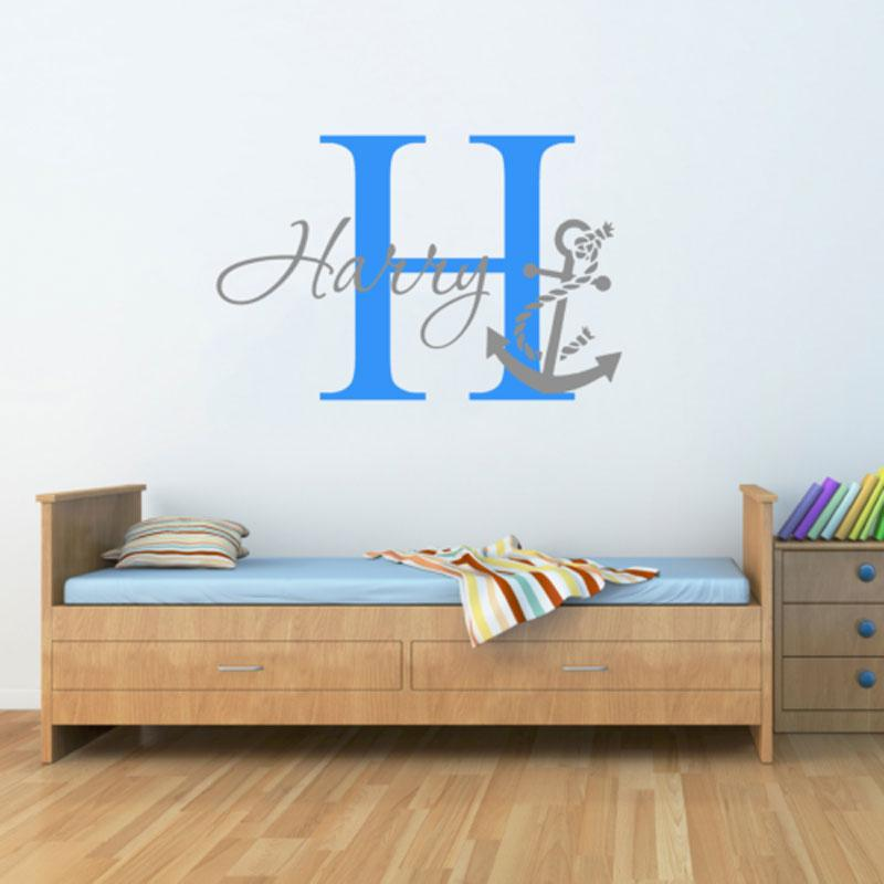 personalised name anchor nautical wall sticker two tone art boys