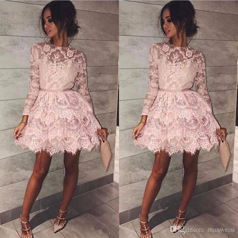 fff5f6aecb Blush Pink Short Homecoming Dresses Long Sleeve Jewel Neck Cheap Party  Evening Mini Length Prom Dress Formal Gowns Long Dresses For Sale Pink  Homecoming ...