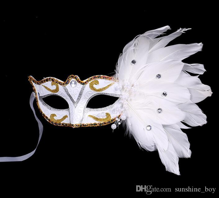 beautiful Painting Gold powder crystal Pearl lace Feather Mask Masquerade Christmas Halloween festival party Wedding mask