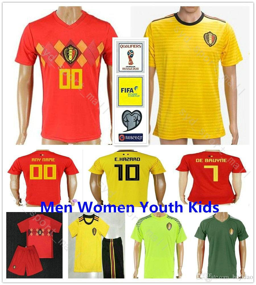 Custom Men Women Youth Kids 2018 World Cup Belgium Soccer Jerseys 10 ... a115b60b6