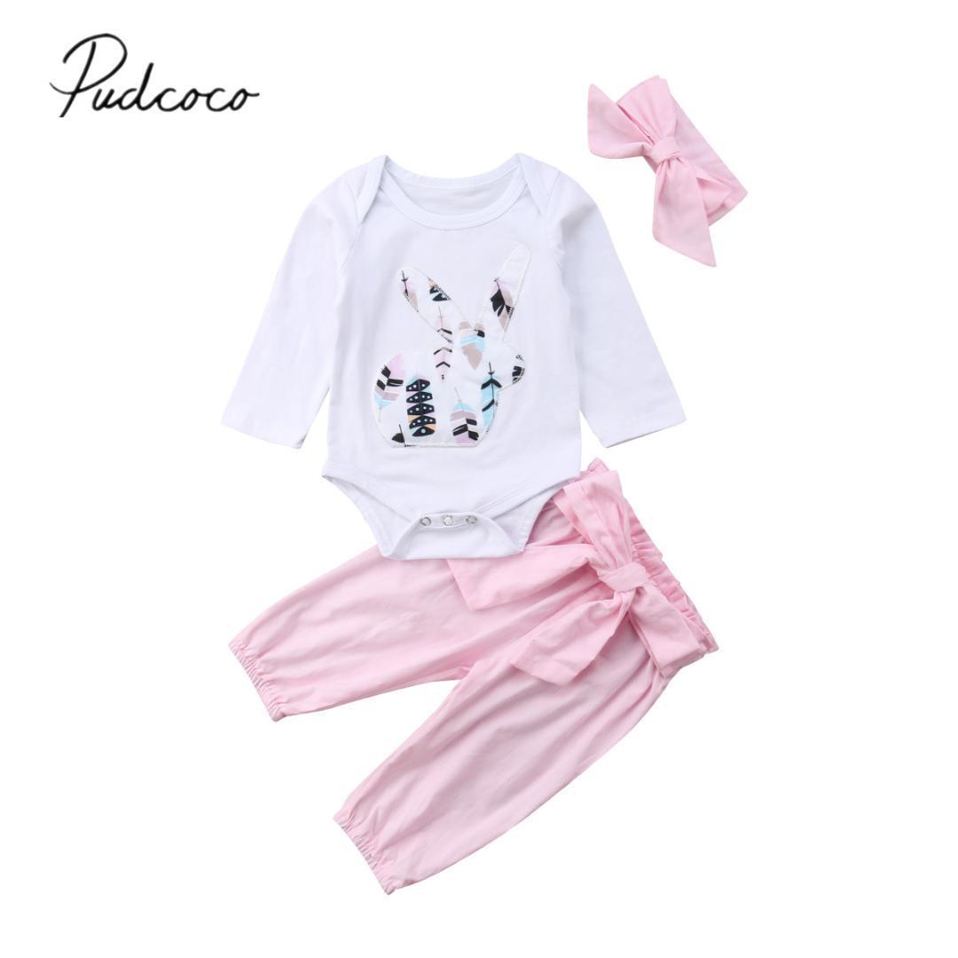 b88ef871c 2019 2018 Brand New 0 18M Baby Girls Boys Clothes Sets Long Sleeve Cartoon  Rabbit Print White Romper+Bowknot Pink Pants+Headband From Oliveer, ...