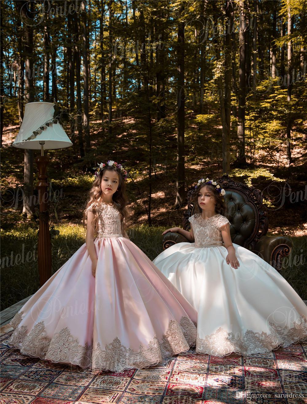 Weinlese-Rosa-Prinzessin Flower Girl Dresses mit Goldspitze Appliqued Hochzeitsfest-Tutu Kindergeburtstag-Kleider 2106