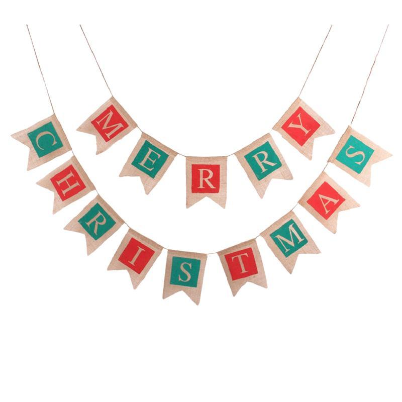 Frohe Weihnachten Girlande.1 Stuck Frohe Weihnachten Fahnen Banner Indoor Sackleinen Outdoor Bunting Banner Girlande Fur Cafe Restaurant Party Garten Dekoration