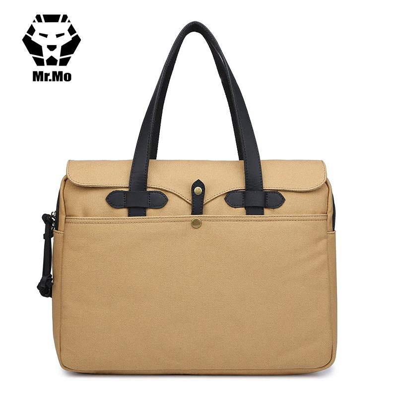 Vintage Leather + Canvas Men Briefcase Business Bag Portfolio Men Office  Bag Male Computer Laptop Attache Case Document Totes Handbags Designer  Handbags ... fd306f98502d5