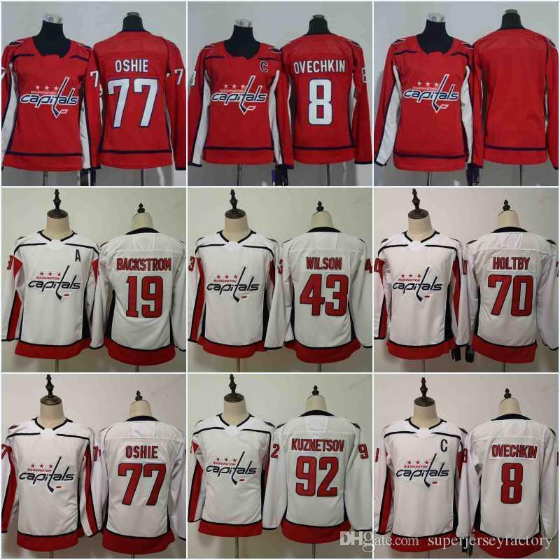 super popular 2822f 2541f Women/Youth 8 Alex Ovechkin Jersey Washington Capitals 92 Kuznetsov 19  Nicklas Backstrom 70 Braden Holtby 77 T.J. Oshie Hockey Jerseys