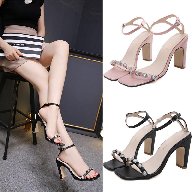afc0b70b9672 High Heel Beautiful Sandals 2018 Summer New Pattern Rhinestone One Buckle  Bring Sexy Sweet Women S Black Pink Coarse Heel Shoes Best Girls Sandals  White ...