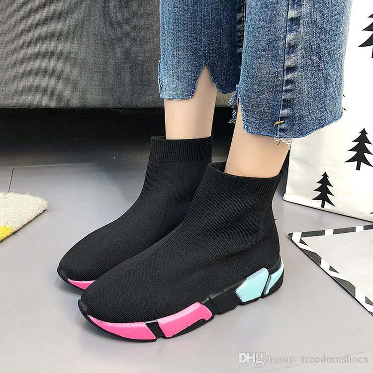 New Sneakers Women Fashion Black Shoes Platform 2018 Thick Heel