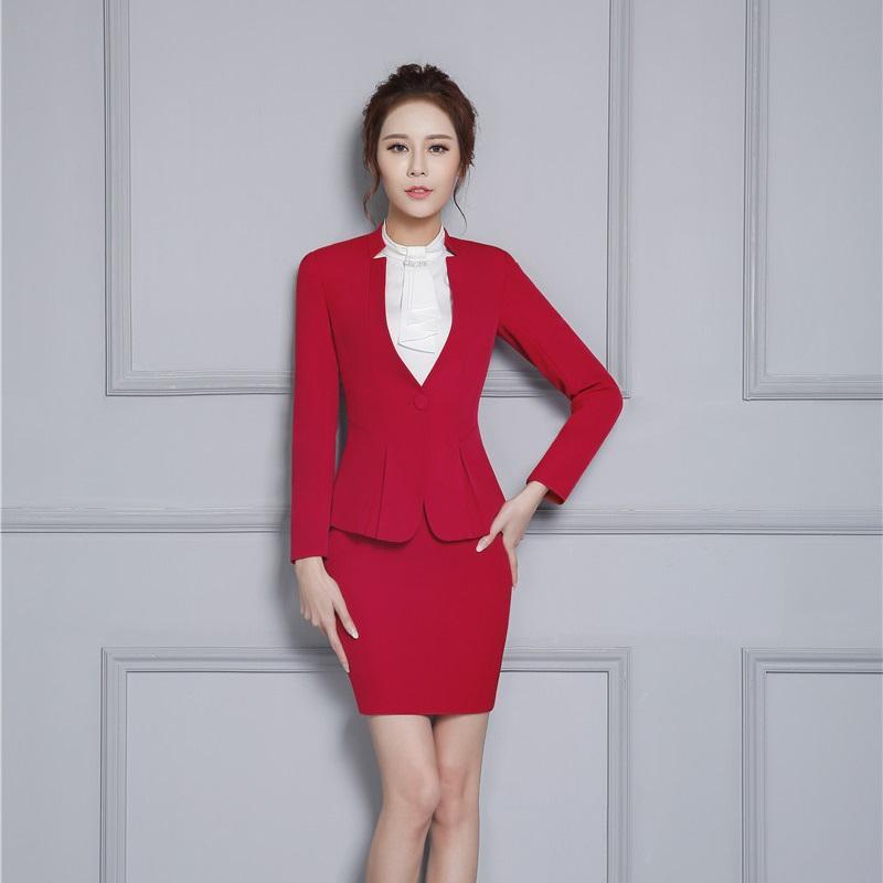 Compre Formal Red Blazer Mujeres Falda Trajes Conjuntos De Chaqueta  Elegante Señoras Ropa De Negocios Oficina Salón De Belleza Uniforme Diseños  Estilo OL A ... 8a3f3e946648