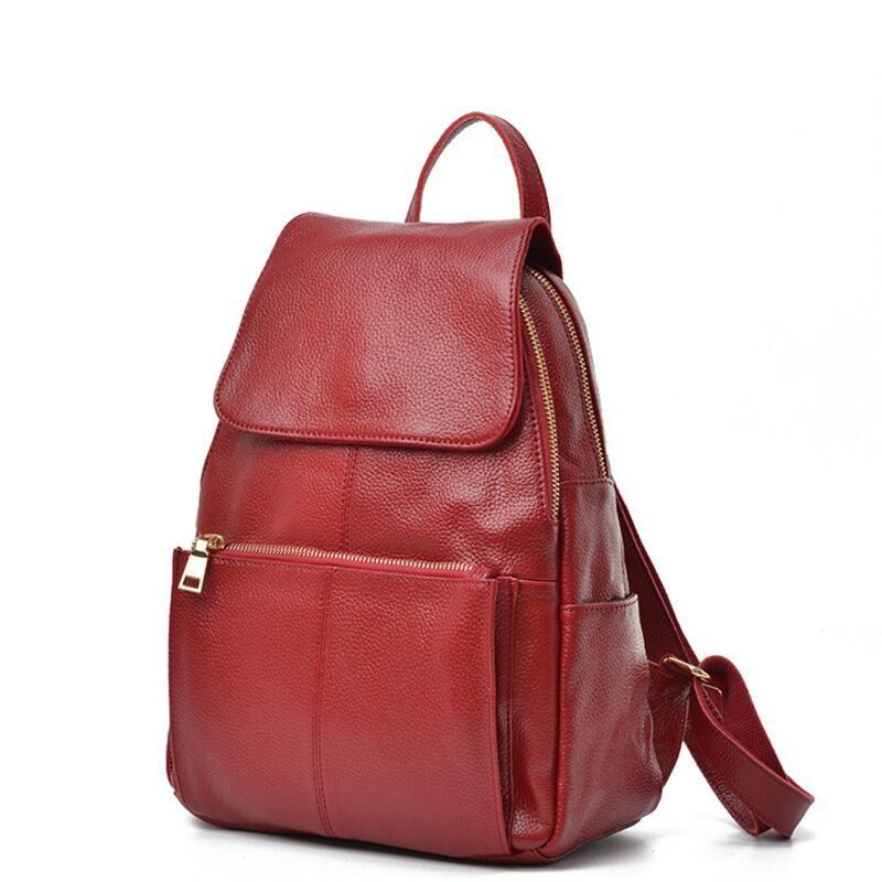 d5c711ea9939 Female Backpack Natural Soft Real Leather Backpacks Genuine First Layer Cow  Leather Top Layer Cowhide Women Backpack School Bags Laptop Backpack  Backpacks ...