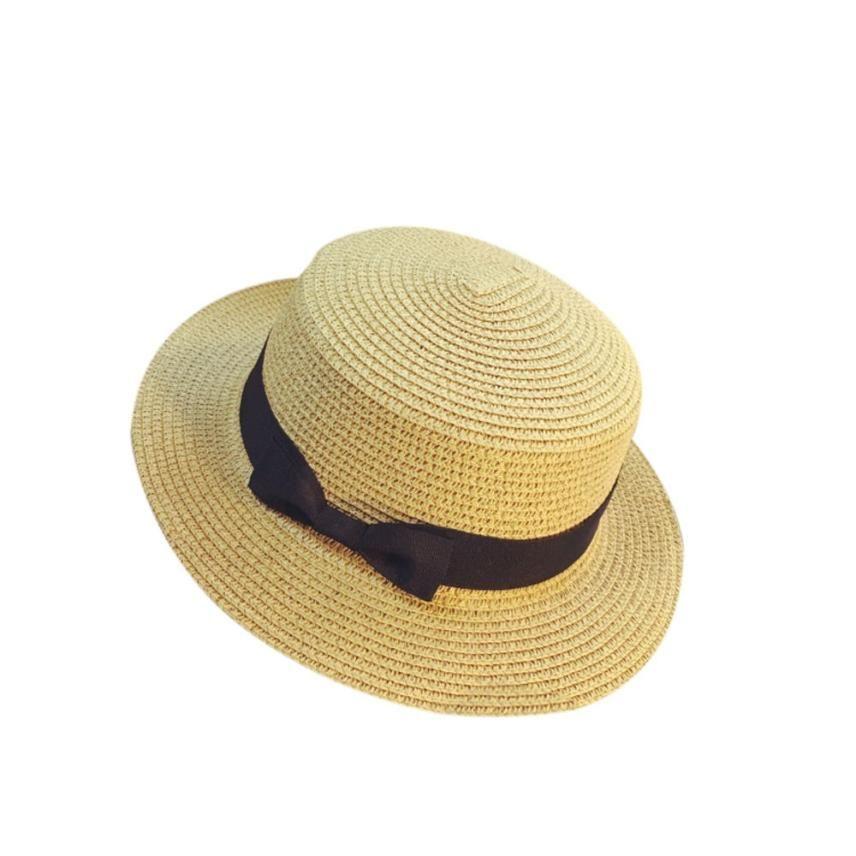 5319c1a5 Fashion Unisex Trilby Gangster Cap Beach Sun Straw Hat Bow Tie Band ...