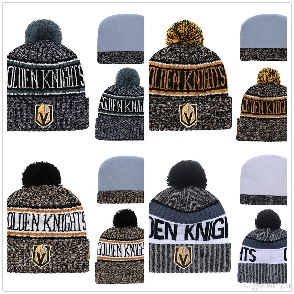 c4b8f4f924118 Wholesale Mens Ice Hockey 2018 New Winter Warm Hats Pom Beanies Vegas  Golden Knights Sideline Cold Weather Color Rush Sport Cuffed Knit Hats