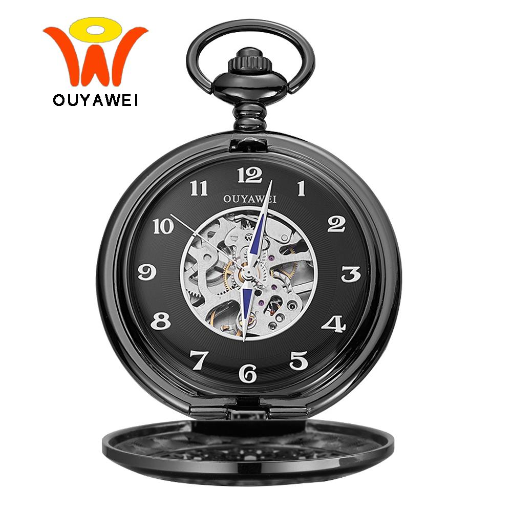 4644e9ed6 Ouyawei Vintage Black Skeleton Dial Mechanical Pocket Watch With Chain Men  Clock Necklace Arabic Numbers Pocket & Fob Watches Sport Watches Buy Watches  ...