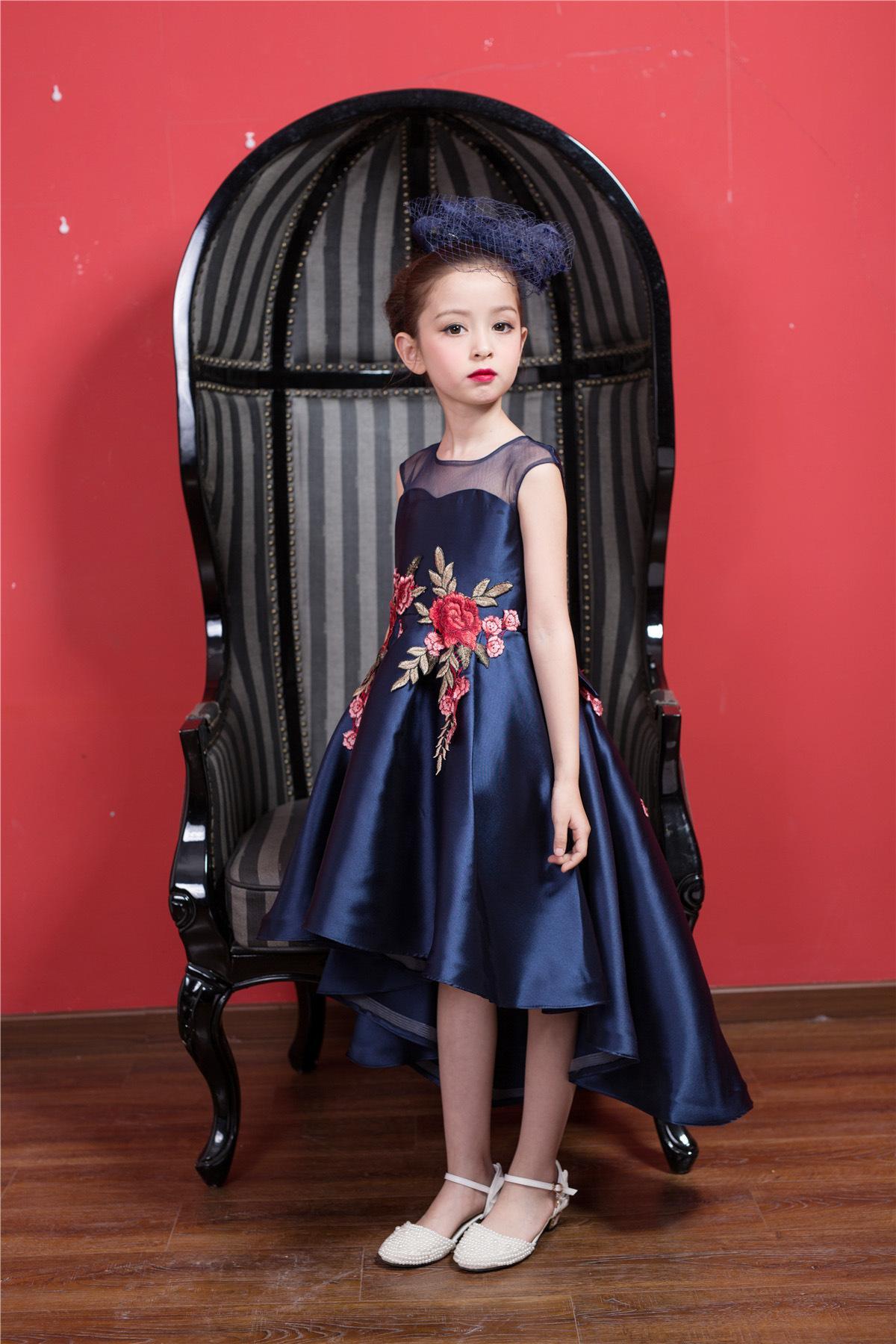 Azul marinho curto frente formal girl dress natal kid party vestido de 3 4 6 8 10 12 ano de idade 2017 criança meninas roupas rkf174036