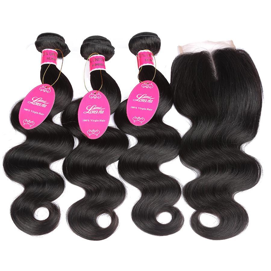 Brazilian Peruvian Malaysian Virgin Hair 3 Bundles With Closure Unprocessed Body Wave With 4x4 Lace Closure Brazialin Peruvian Human Hair