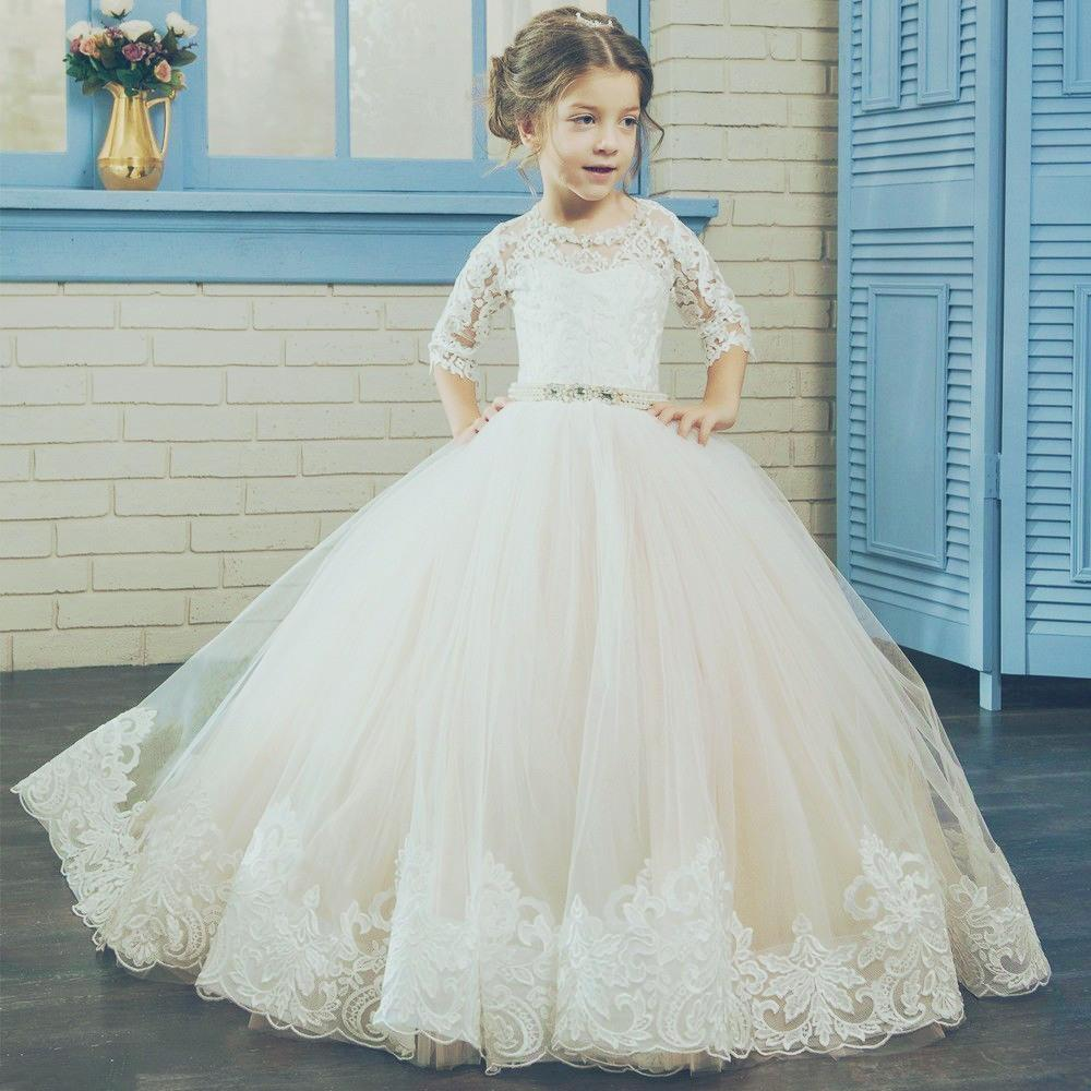 White Or Ivory Formal Tulle Half Sleeve Lace Pageant Little Flower
