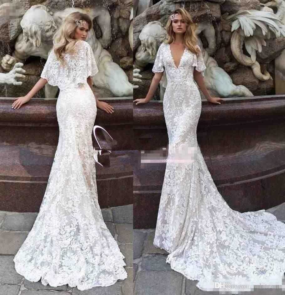 Fashion Vestidos De Nnovia 2018 Mermaid Wedding Dresses With Cape Sheer V  Neck Full Lace Appliqued Sweep Train Custom Made Bridal Gowns Chiffon  Dresses ... def0f9a93b30