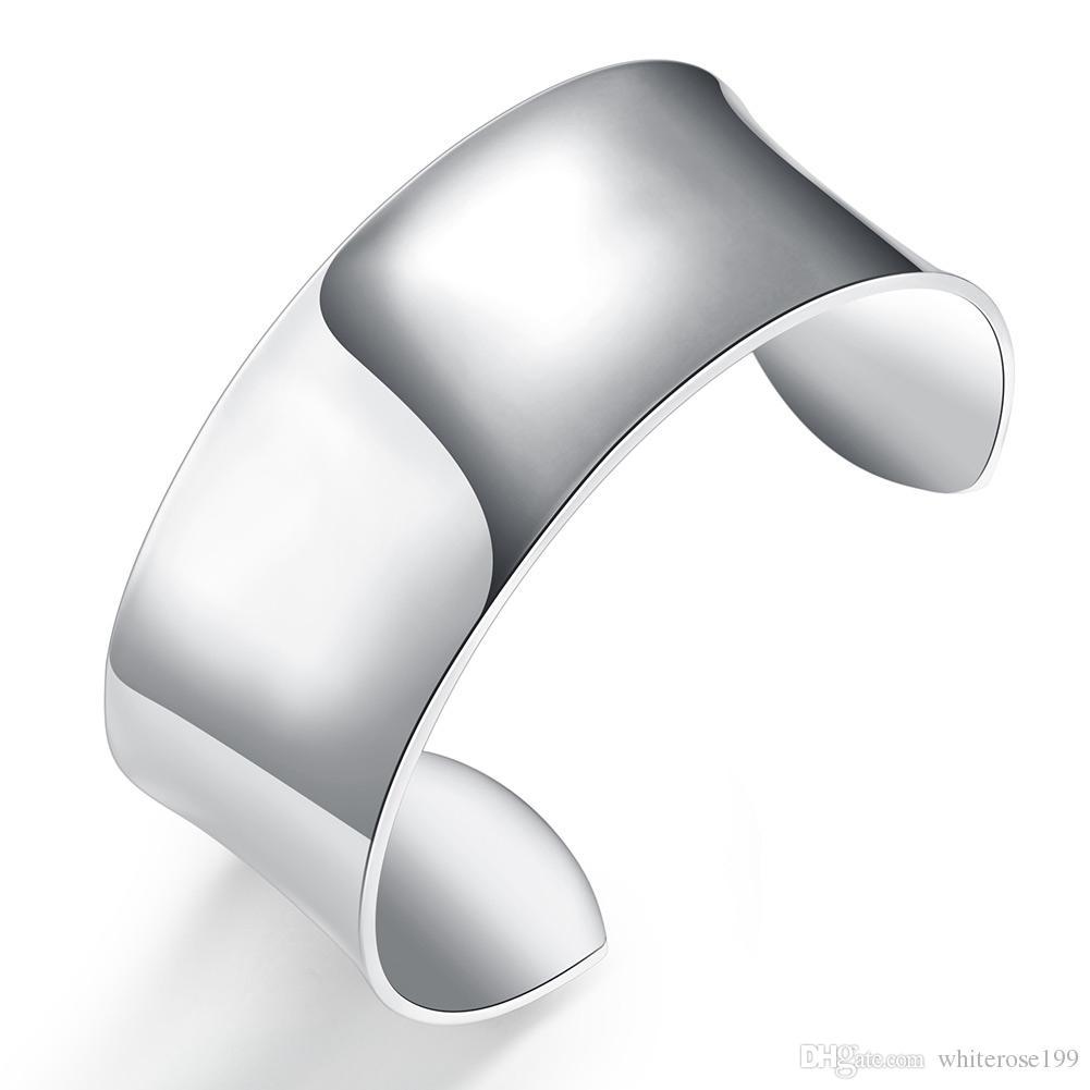 Argento 925 uomini e donne nuovo braccialetto extra grande moda forma rotonda gioielli gioielli braccialetto d'argento B042