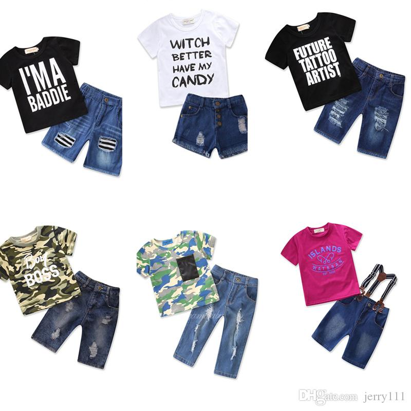 344e571a5360f Acheter Mama s Boy Enfants Vêtements De Bébé Garçon Set 2018 Nouveau Casual  T Chemises Top Denim Shorts Pantalon Tout Petit Garçons Tenues D été LC915  De ...