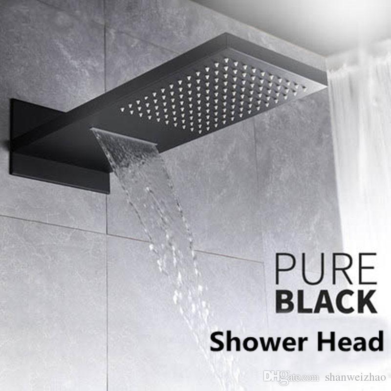 Bathroom Matte Black Multi-function 2 Way Rectangular Rainfall ...