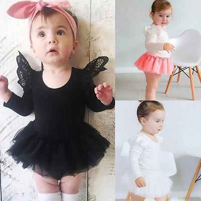 37df9d6bad25 Satın Al Yenidoğan Çocuklar Sevimli Bebek Kız Bebek Uzun Kollu Tutu Etek Romper  Tulum Vücut Tutu Elbise Giyim Kıyafet