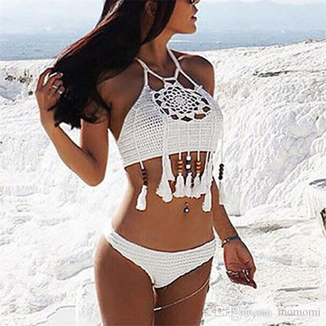 a9bd9028a7a 2019 Women White Black Handmade Bathing Suits Halter Beaded Tassel Knitted Bikini  Crochet Crop Top Sexy Hollow Out Crochet Swimwears From Momomi, ...