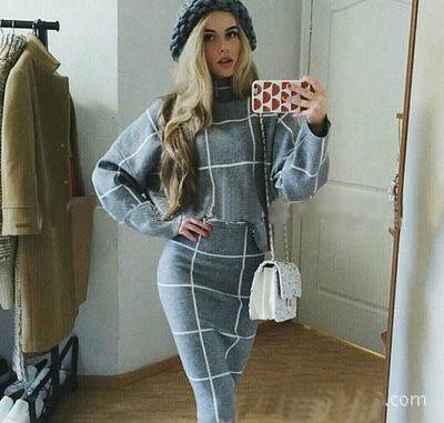 Autumn Winter Women Dress Check Pattern Dress Suit Turtleneck