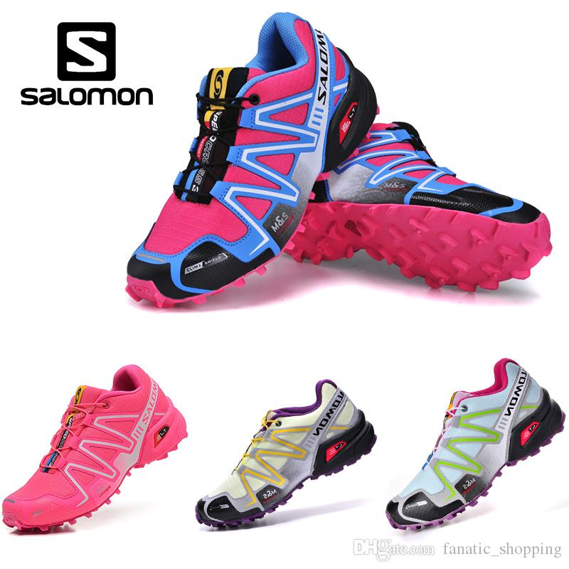 cheap for discount 103e8 0058a Acheter Salomon Speedcross 3 CS Trail Chaussures De Course Femmes Marine Rose  Blanc Speed Cross III Randonnée En Plein Air Sport Baskets De  83.82 Du ...