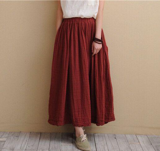 cheap for discount bcc05 b302f 7 gonne lunghe di lino in cotone, 2017 primavera estate donne comode gonne  casual con tasche, più gonna taglia Vestidos S-5XL
