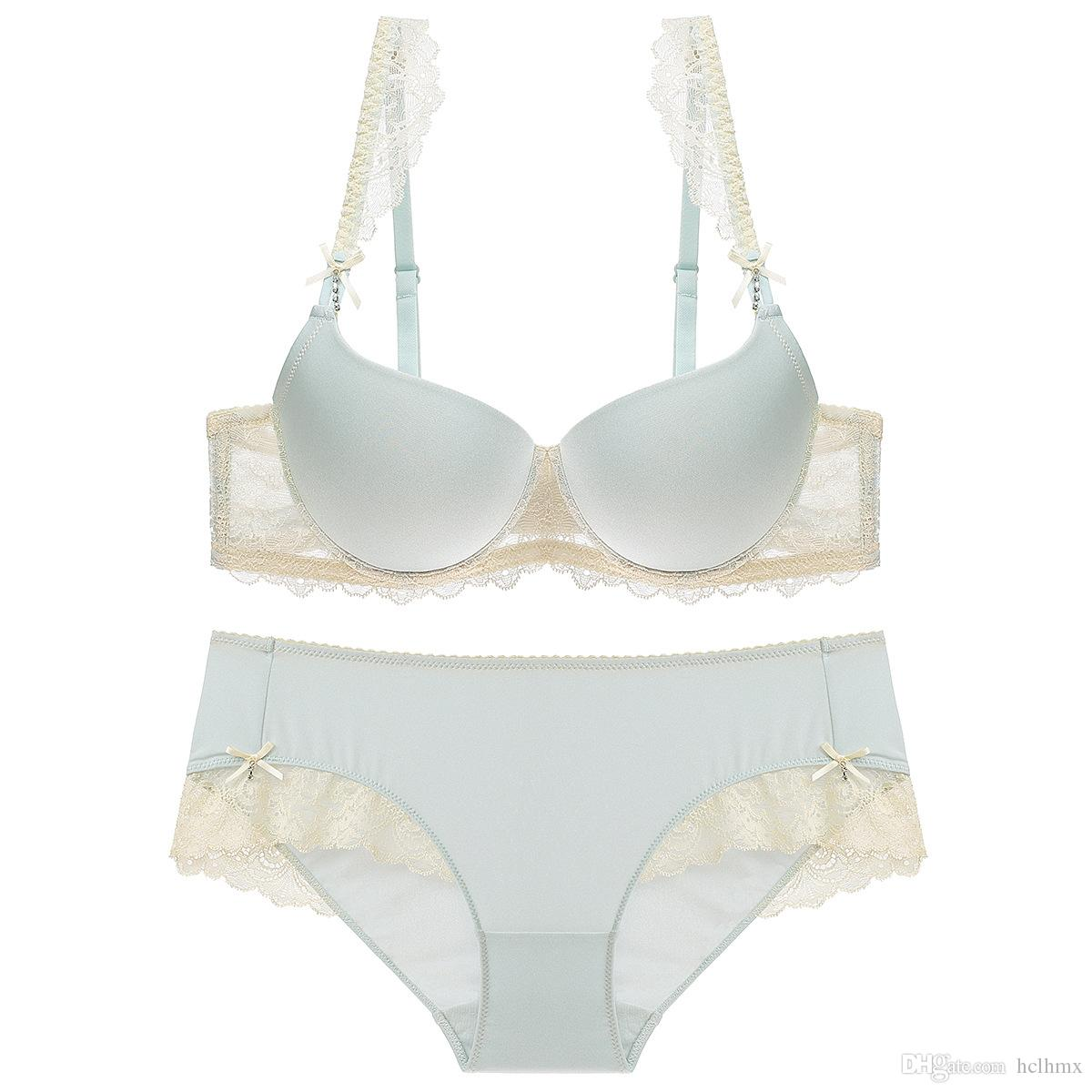 c4b788ebd5dd 2019 Sweet Sexy Lace Soft Bra And Panty Lingerie Set New Design Thin Under  Thick Smooth Cup Lace Wing Underwear Sheer Lingerie From Hclhmx, $12.19 |  DHgate.