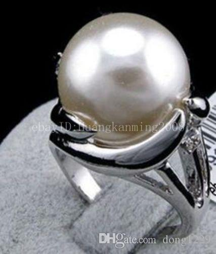 Genuine Natural 14mm Gray South Sea Shell Pearl Wedding Jewelry Ring SZ 7//8//9