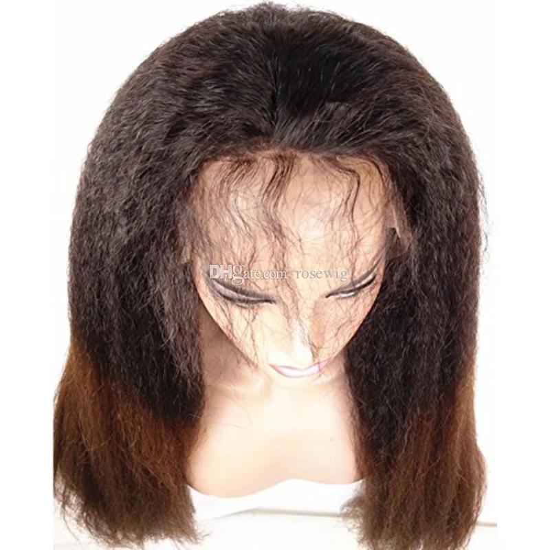 Brazilian Ombre Color #1bT30 Kinky Straight Hair Lace Front Human Hair Wigs With Baby Hair Natural Hairline For Black Women