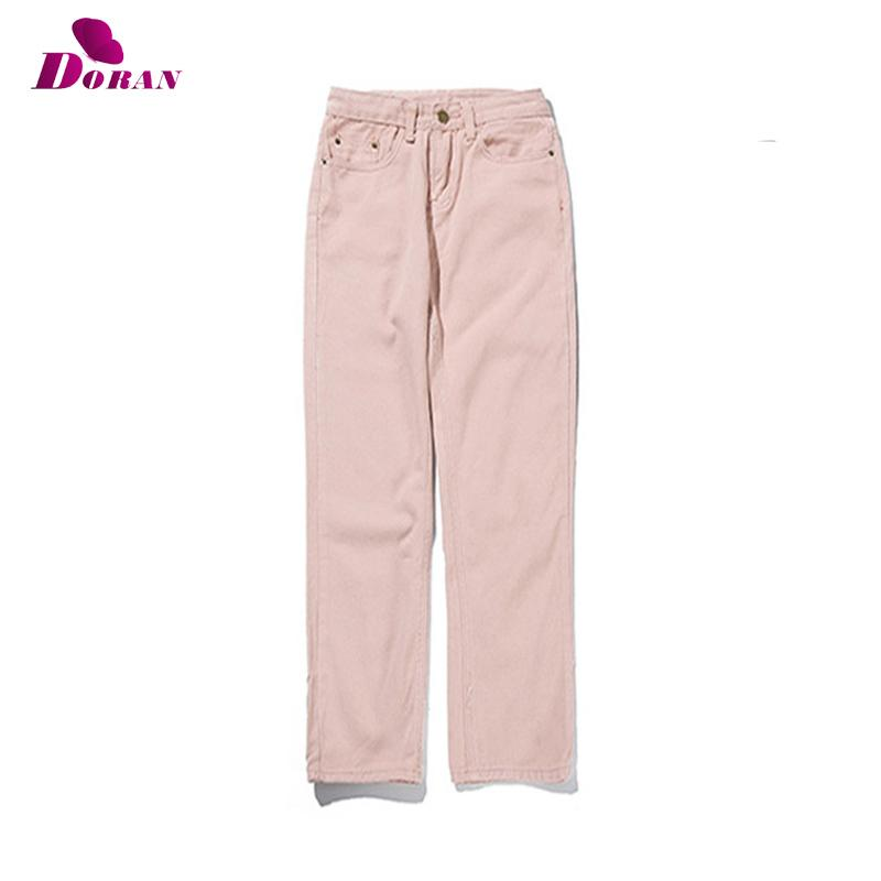 f6e39c24b6 2019 Pink High Waist Straight Jeans Jeans Stretch Cotton Denim Pants Mom  2018 White Blue Straight Pants For Women Boyfriend From Qingchung