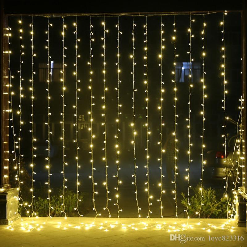 8 M x 3 M Pırıltı LED Aydınlatma 800 LED noel Dize Peri Düğün Perde arka plan Açık Parti Noel Işıkları 110 V 220 V 10 adet / grup