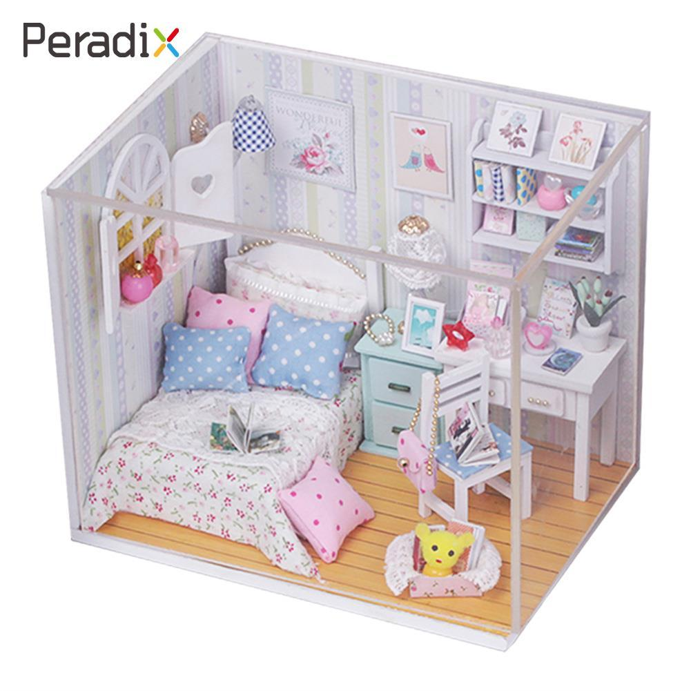 Creative Kits DIY Wood Dollhouse Bed Miniature With LED Furniture cover Gift