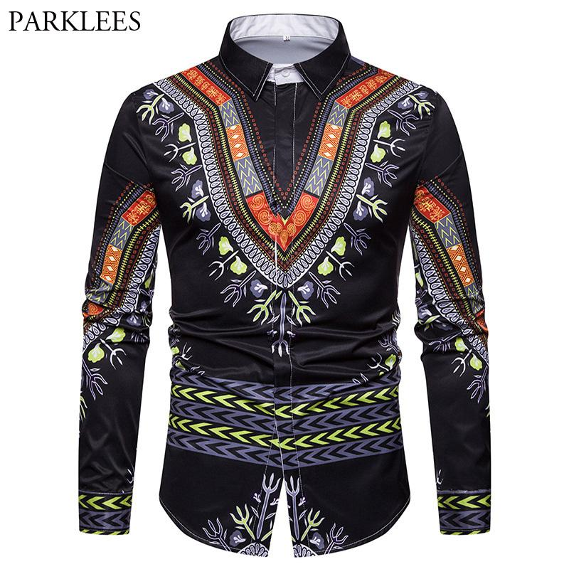8f0bbffef758 2019 African National Dashiki Shirt Men Casual Slim Fit Long Sleeve Hippie Mens  Shirts Cool 3D Printed Hip Hop Chemise Homme Camisa From Honey333, ...