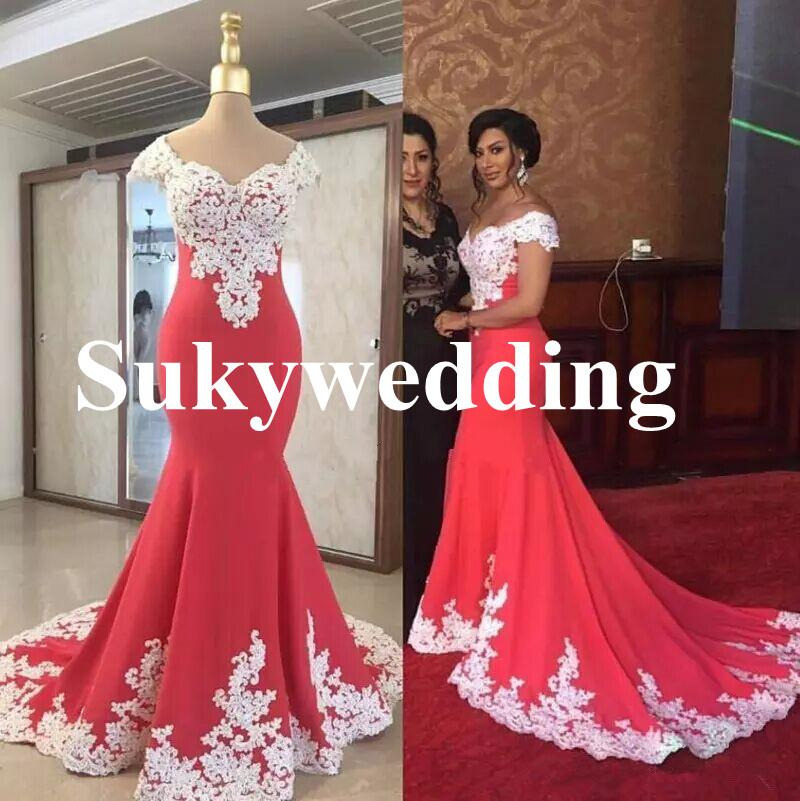 Hot Sexy Mermaid Evening Dresses White Lace V Neck Prom Dresses Party Evening Wear Sweep Train Real Photo Formal Prom Gowns Plus Size