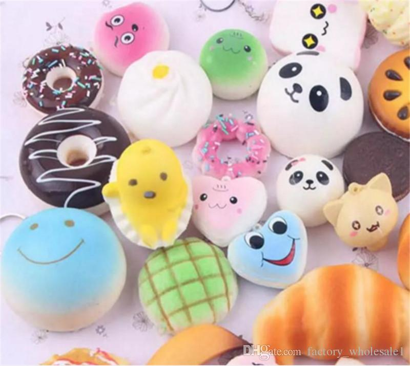 Kawaii Squishies Bun Toast Donut Bread for cell phone Bag Charm Straps Wholesale mixed Rare Squishy slow rising lanyard new