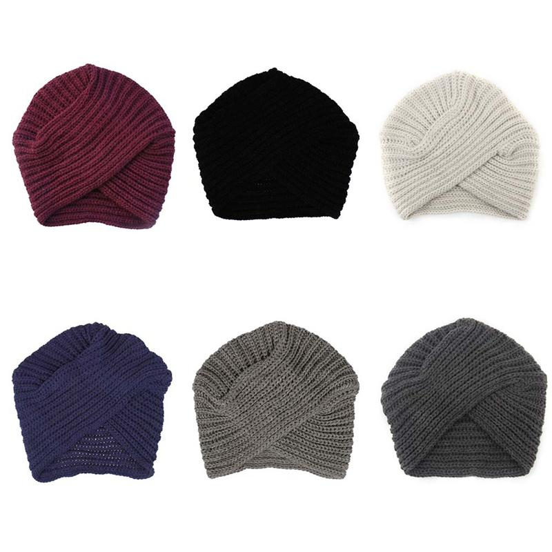 Kknitted Winter Hat Women Felt Hat Ladies Turban Head Wrap Caps For ... 760af5ee88