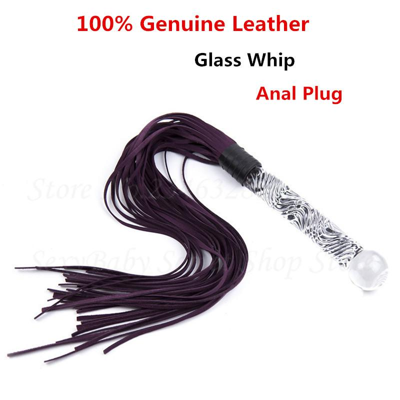 Glass Dildo Anal Plug Genuine Leather Whip Bdsm Slave Fetish Spanking  Flogger Whips Flirt Tools Adult Sex Toys S For Couples Y18102305 Healing  Crystal Shop ...