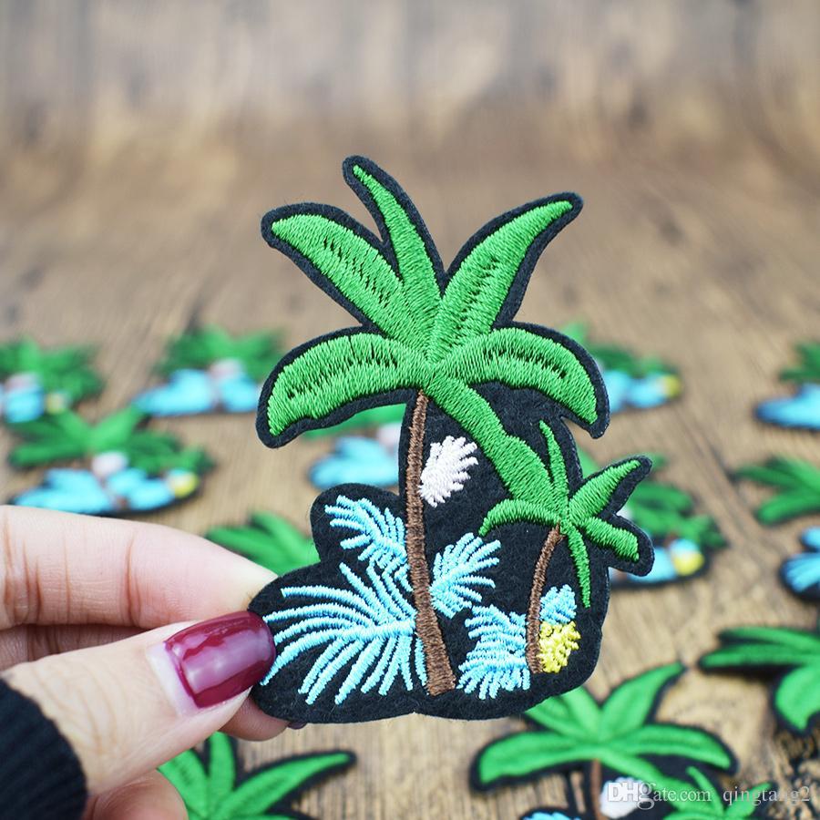 10 UNIDS Flor Árbol de Coco Parches Pegamento Bordado Coser Applique Pegatinas para la Ropa de Hierro en Termo para Parche de Ropa de Tela Diy Craft