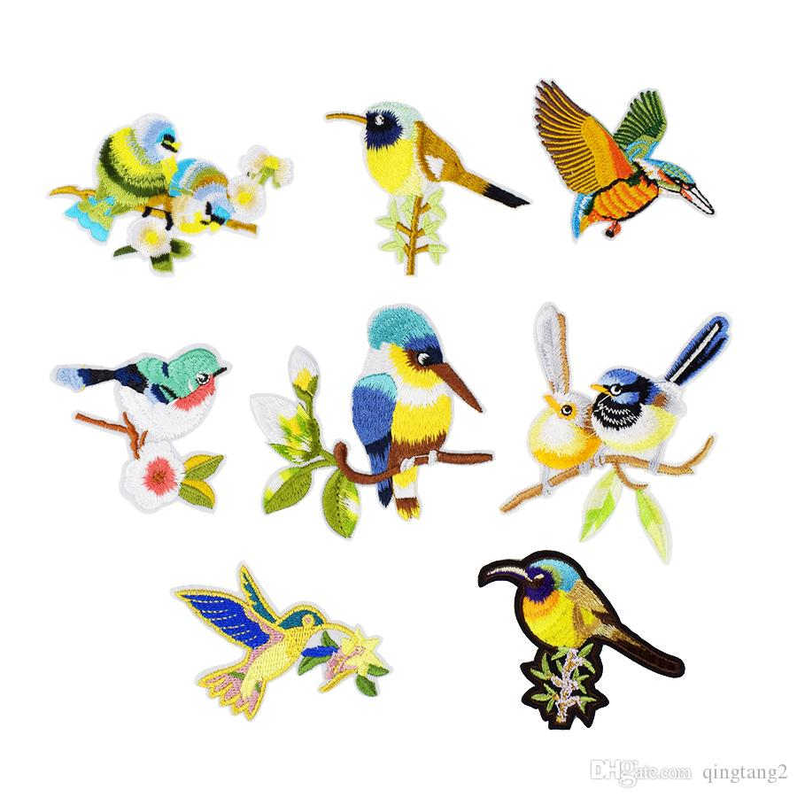 5e06f23163b8d 10 PCS Stripe Embroidery Bird with Flower Ironed on and Sewing on Patches  Patchwork Accessories Embroidered Applique for Clothing Bags Skirt