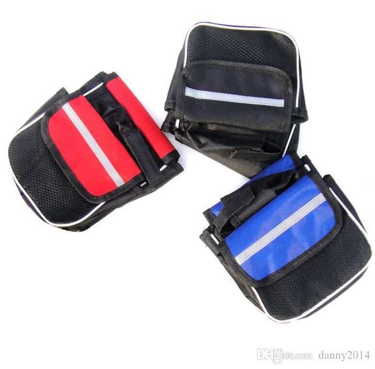 waterproof bike saddle bags Bicycle Front Tube Bags Reflective bikes package with mesh phone Pannier bag frame bag road bike