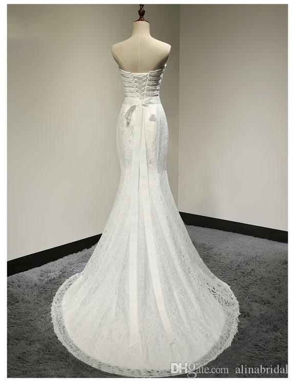sweethea Lace Backless Mermaid Wedding Dresses Plus Size Sexy Bridal Gowns 2018 Real Image lace-up wedding dresses Vestidos de novia