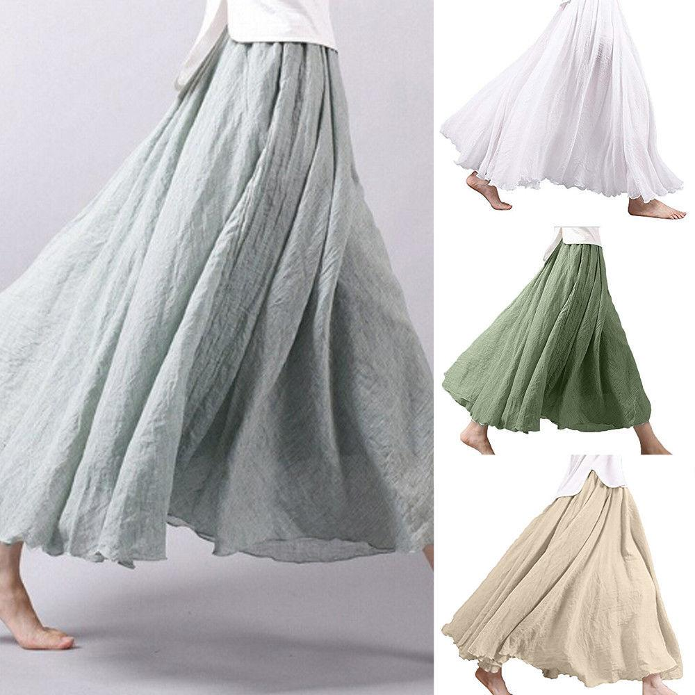 Women Skirt Holiday Ethnic Linen Layer Long Loose Skirts Party Evening  Beach Skirt New Fashion Women Clothes Online with  34.81 Piece on  Wanglon08 s Store ... 722ea1315f54
