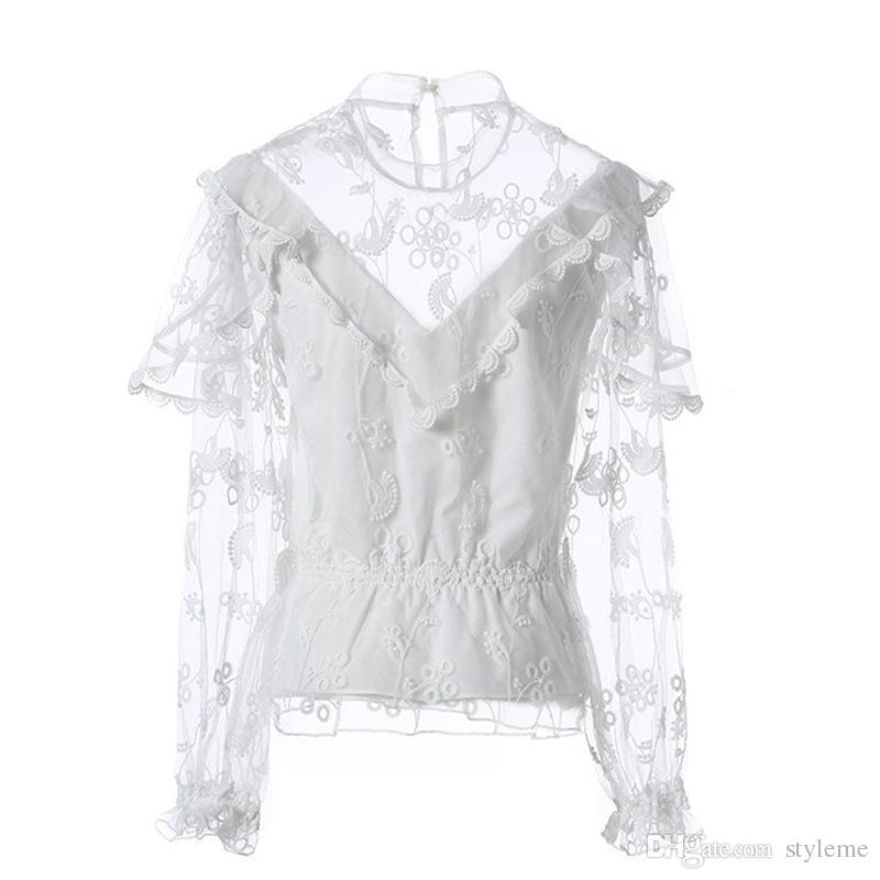 Brand Designer Mesh Embroidered Women Blouse 2018 Summer Fashion Stand Collar Transparent Long Lantern Sleeve Party Cocktal Shirts Tops