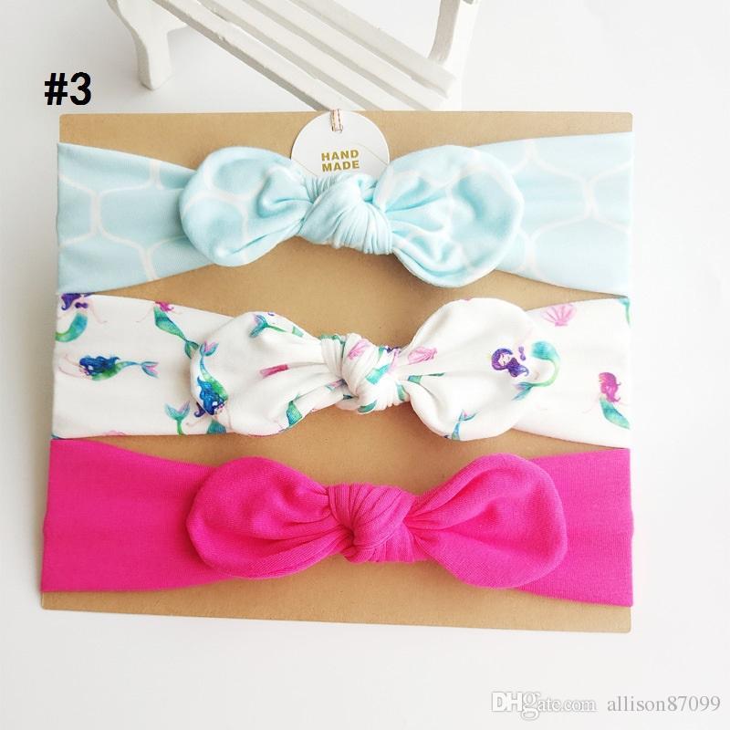 accesorios para el cabello de la niña de la venda del unicornio de la sirena de nudo Arcos conejito banda de cumpleaños regalo Flores geométricas de impresión / Boutique tarjeta
