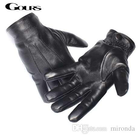 Gours Men's Genuine Leather Gloves Real Sheepskin Black Touch Screen Gloves Button Fashion Brand Winter Warm Mittens New GSM050
