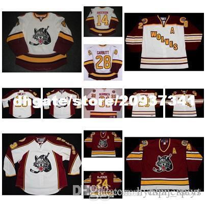 custom New 14 Matt Anderson Mens AHL Chicago Wolves 7 Chelios 100% Embroidery Custom Any Name Any No. Ice Hockey Jerseys Goalit Cut Hot