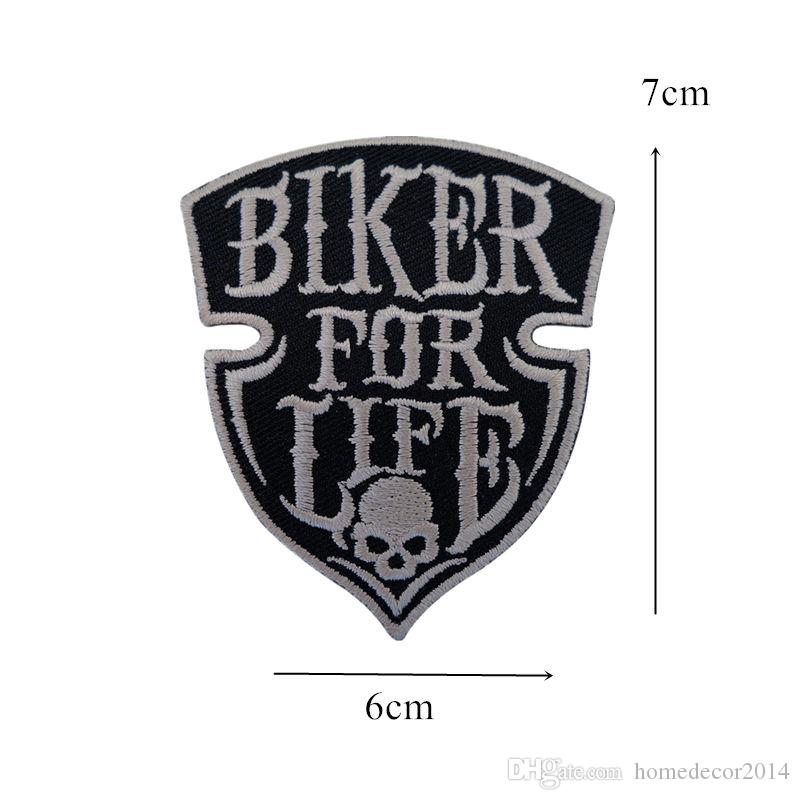 Embroidery Patch Sew Iron On Biker For Life Punk Skull Rock Embroidered Patches Badges For Bag Jeans Hat T Shirt DIY Appliques Decoration