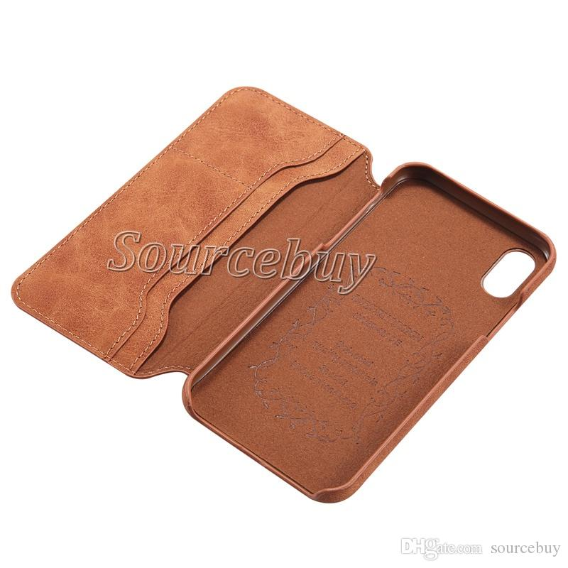 Premium PU Leather Flip Fold Wallet Case with ID & Credit Card Slot Back Cover for Apple iphone X Solid Color Phone Cases Shockproof